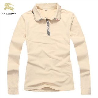 Burberry Beige Manches Longue Polo Uni T Shirt Femme Trench Soldes