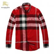 Burberry Chemise Homme Manches Longue Rouge Montpellier