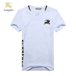 Burberry Col V Blanc T Shirt Homme Uni Manches Courte Maquillage