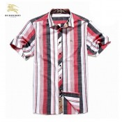 Burberry Lille Chemise Homme Rayures Manches Courte Foulard Solde