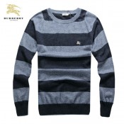Burberry Manches Longue Pull Homme Col Rond Gris Pullover Soldes