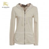 Burberry Manches Longues Uni Zippe Gris Veste Femme Sweat Capuche France
