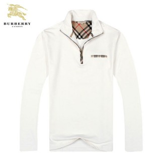Burberry Blanc Veste Homme Uni Col Montant Sweat Manches Longues Madeleine
