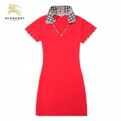 Burberry Manches Courte Rouge Uni T Shirt Femme Polo Factory Outlet