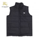 Burberry Sans Manches Col Montant Bleu Zippe Veste Homme Gilet Official Website