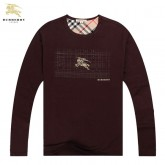 Burberry Marron Manches Longue Col Rond T Shirt Homme Nouvelle Collection