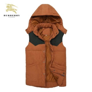 Burberry Orange Capuche Gilet Sans Manches Zippe Uni Veste Homme Trench Occasion