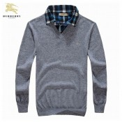 Burberry Pullover Gris Uni Col V Pull Homme Manches Longue Poussette