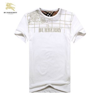 Burberry Uni Blanc Col Rond T Shirt Homme Manches Courte Trench Soldes