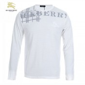 Burberry Col Rond Blanc Manches Longue T Shirt Homme Imper Occasion
