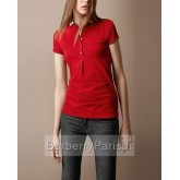 Burberry Manches Courte Uni Polo T Shirt Femme Uni Colored Rouge Outlet Store Online