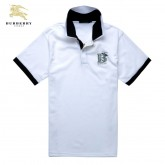 Burberry T Shirt Homme Manches Courte Uni Blanc Double Col Magasin Marseille