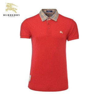 Burberry Manches Courte Uni T Shirt Homme Rouge Polo Outlet