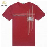 Burberry T Shirt Homme Manches Courte Col Rond Rouge Logo Collection
