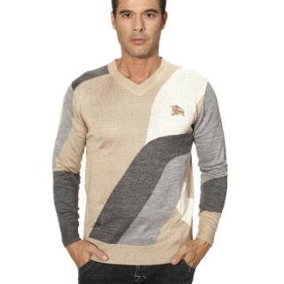 Burberry Pull Homme Col V Manches Longue Beige Pullover Magasin Bordeaux