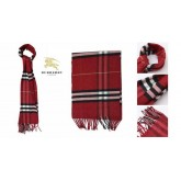 Burberry Rouge Rayures Echarpe Foulard Soie