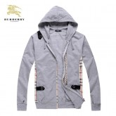 Burberry Veste Homme Manches Longues Sweat Gris Capuche Zippe Uni Paris Boutique