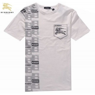 Burberry Col Rond Gris Manches Courte T Shirt Homme Logo Factory Outlet
