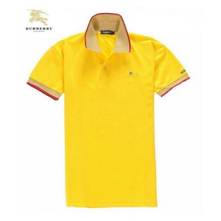 Burberry Manches Courte Uni Jaune Polo T Shirt Homme Foulard Style