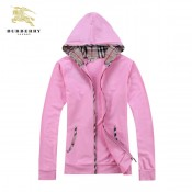 Burberry Capuche Manches Longues Zippe Uni Sweat Rose Veste Femme Paris Madeleine