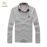 Burberry En Gris Manches Longue Uni Polo T Shirt Homme Outlet Online