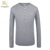 Burberry En Manches Longue Gris Pullover Col Rond Pull Homme Soldes