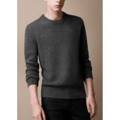 Burberry En Pullover Col Rond Gris Manches Longue Pull Homme Uni Madeleine