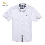 Burberry London Blanc Uni Chemise Homme Manches Courte Magasin France