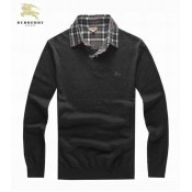 Burberry London Col V Manches Longue Pullover Pull Homme Gris Prix Foulard