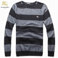 Burberry London Manches Longue Pull Homme Col Rond Rayures Pullover Noir Collection