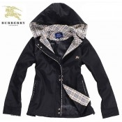Burberry London Uni Noir Manches Longues Capuche Manteau Veste Femme Zippe Nouvelle Collection