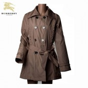 Burberry London Uni Polo Marron Manches Longues Veste Femme Manteau Boutons Bordeaux