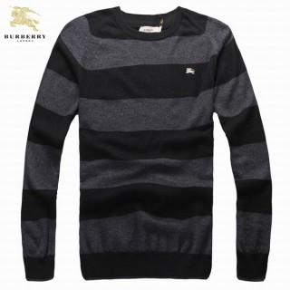 Burberry Manches Longue Rayures Pull Homme Pullover Noir Online Store