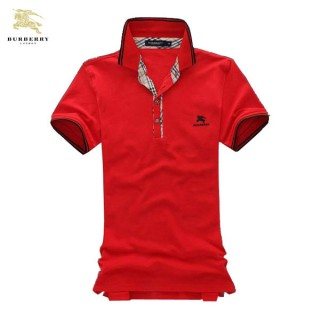 Burberry T Shirt Homme Uni Manches Courte Polo Rouge Outlet