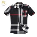 Burberry Manches Courte Chemise Homme Gris Imper Occasion