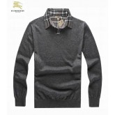 Burberry Pullover Pull Homme Col V Uni Gris Manches Longue Outlet