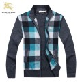 Burberry Bleu Cardigans Col Montant Manches Longue Pull Homme Zippe Cara Delevingne