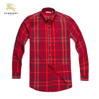 Burberry Manches Longue Rouge Chemise Homme Portefeuille