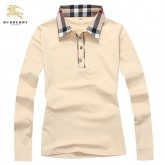 Burberry Polo T Shirt Femme Uni Beige Manches Longue Outlet
