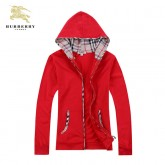 Burberry Rouge Capuche Sweat Veste Femme Zippe Manches Longues Uni Outlet Londres
