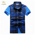 Burberry Bleu Chemise Homme Manches Courte Magasin Marseille