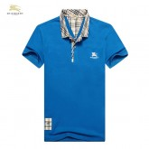 Burberry Bleu Manches Courte Polo Uni T Shirt Homme Trench Occasion