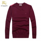 Burberry Manches Longue Rouge Col Rond Pull Homme Pullover Galeries Lafayette