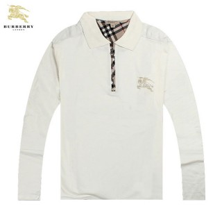 Burberry Lunettes Polo Manches Longue Blanc T Shirt Homme Collection