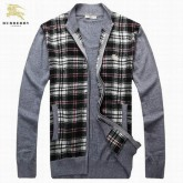 Burberry Cardigans Gris Col Montant Pull Homme Foulard Solde