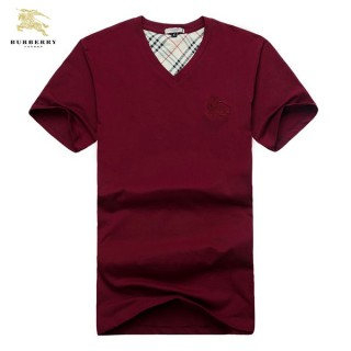 Burberry T Shirt Homme Col V Uni Manches Courte Rouge Ballerines