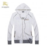 Burberry Zippe Capuche Sweat Manches Longues Blanc Veste Homme Boutique Paris