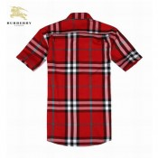 Burberry Chemise Homme Manches Courte Rouge Online