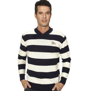 Burberry Manches Longue Pull Homme Pullover Rayures Blanc Col V Montre Sport