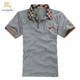 Burberry T Shirt Homme Manches Courte Polo Uni Gris Magasin Paris